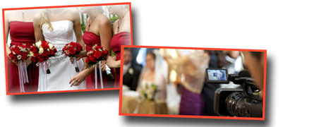 Flower arrangements and wedding videography photo montage
