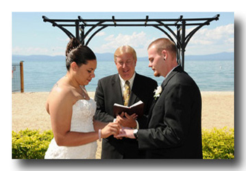 Pastor Robert Orr conducting a wedding ceremony