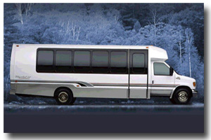 Exterior view of the shuttle coach