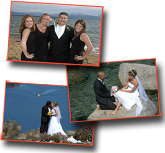 Newlyweds posing at various wedding locations in Lake Tahoe