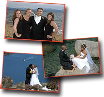 Newlyweds posing at various wedding locations in Lake Tahoe