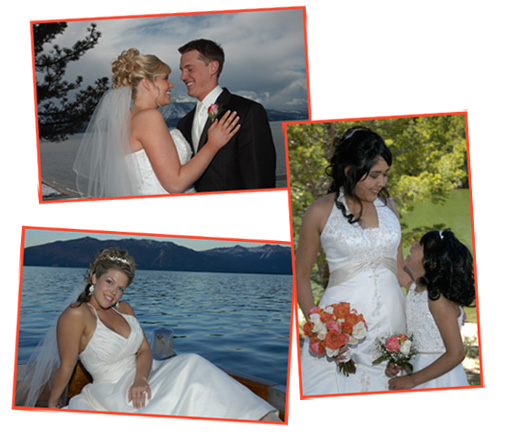 Various wedding images of couples taken in Lake Tahoe