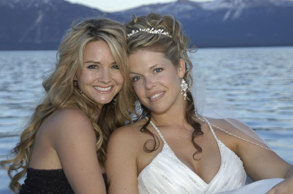 The bride poses with her best friend