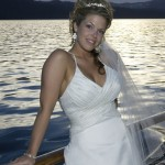 Relaxed bride after her boat wedding