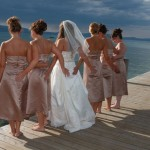 Bridal party girls having fun