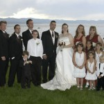 The bridal party poses for a group picture