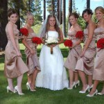 Bridal party girls show their legs