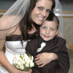 Bride hugs her son