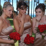 Bridesmaids make a funny face