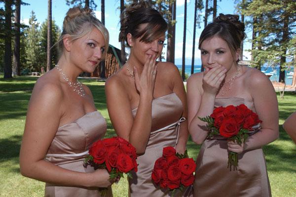 Bridesmaids make a funny face