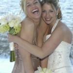 Bridal girls laughing and hugging
