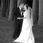 Romantic first kiss under the trees