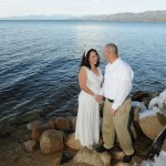 Just married by the water at Regan Beach