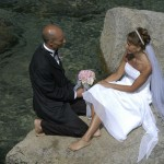 A romantic moment by the lake for the married couple