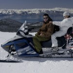 Snowmobile wedding on the mountain