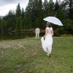 Bride strolls over casually to her groom