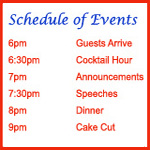 Schedule of reception events