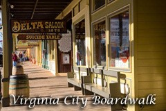 Famous boardwalk in downtown Virginia City