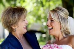 Mother and bride laughing together
