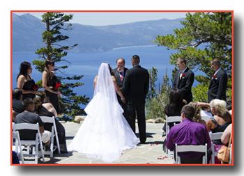 Wedding in progress at the terrace edge