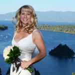 Bride on the bluff of favored Emerald Bay
