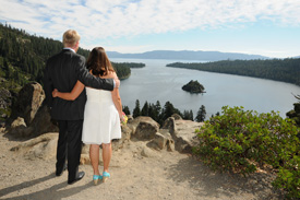 Newlyweds at the overlook of Emerald Bay