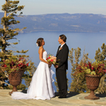 Bride and groom on Heavenly Mountain Resort's Blue Sky Terrace