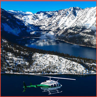 Aircraft hovering over lake