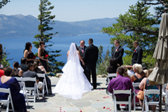 A ceremony taking place on the Blue Sky Terrace at Heavenly Mountain Resort