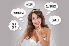 Frustrated bride considering all the decisions of wedding planning