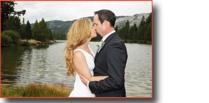 Kissing newlyweds at Tahoe Paradise Park